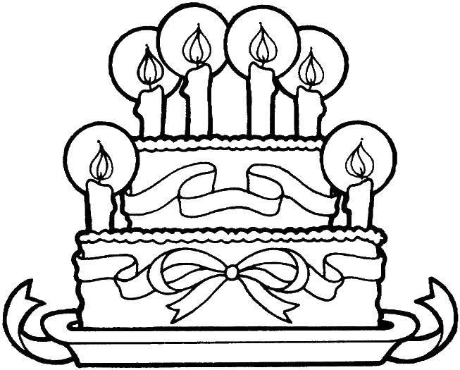 Раскраска Свечи и торт с бантом. Скачать торт, тарелка, свечка.  Распечатать ,торты,