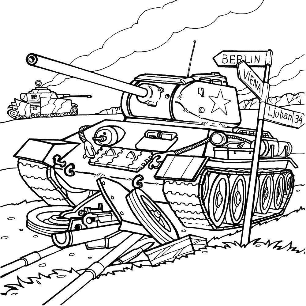 Раскраска Танк в германии Скачать ,Военное, машины, танк, оружие,.  Распечатать