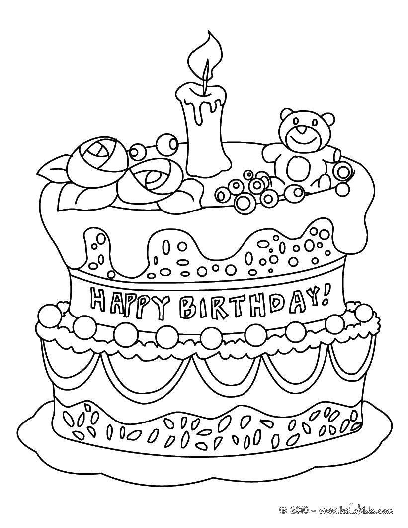 Раскраска торты Скачать Hello Kitty, замок, корона.  Распечатать ,Hello Kitty,