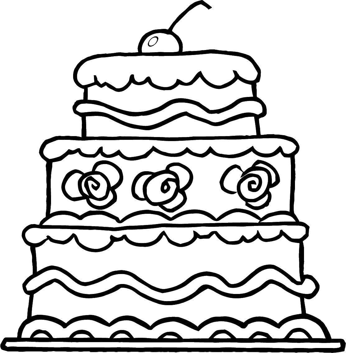 Раскраска Торт с вишенкой Скачать торт, тарелка, вишня.  Распечатать ,торты,