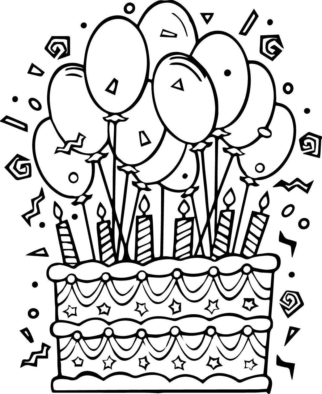 Раскраска Торт со свечами и шарики Скачать торт, свечки, шарики.  Распечатать ,торты,