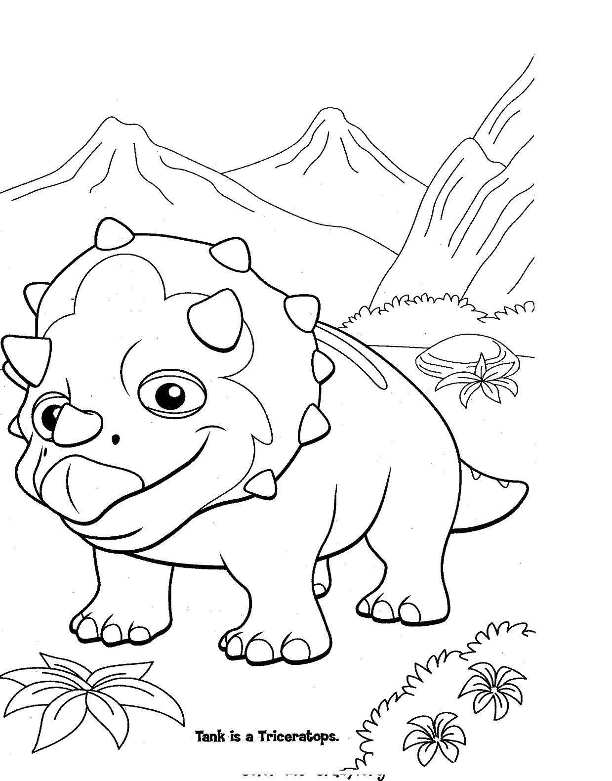 Раскраска Трицератопс. Скачать парк юрского периода, динозавры, трицератопс.  Распечатать ,парк юрского периода,