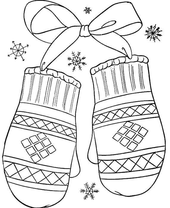 Раскраска Варежки и бантик. Скачать одежда, зима, варежки.  Распечатать ,Одежда,