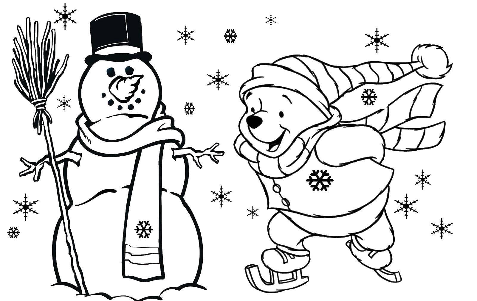 Раскраска Винни пух и снеговик. Скачать снеговик, метла, винни пух.  Распечатать ,Рождество,