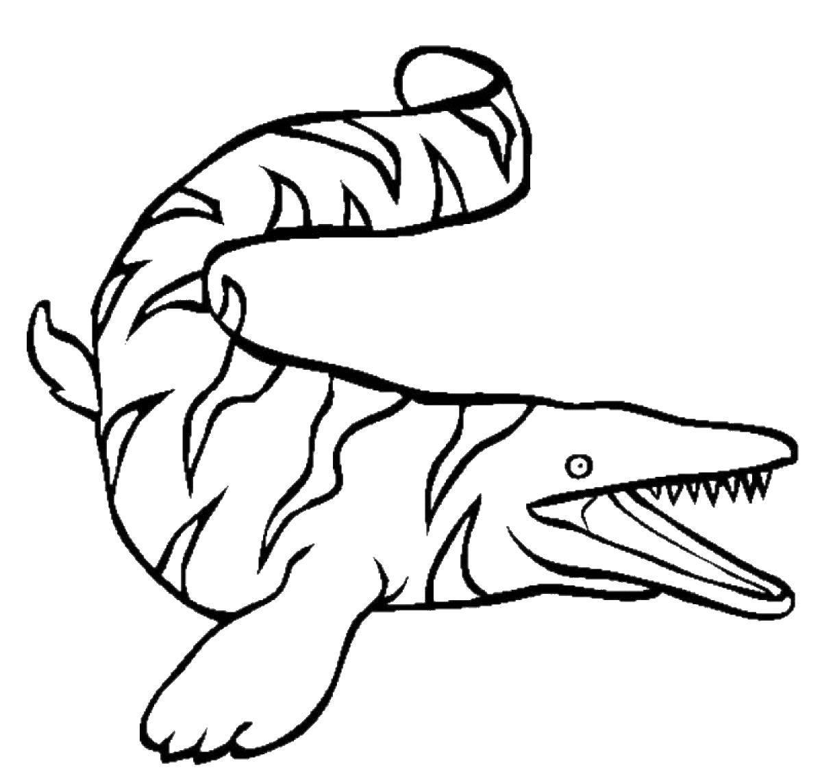 Раскраска Водный динозавр. Скачать парк юрского периода, динозавры.  Распечатать ,парк юрского периода,