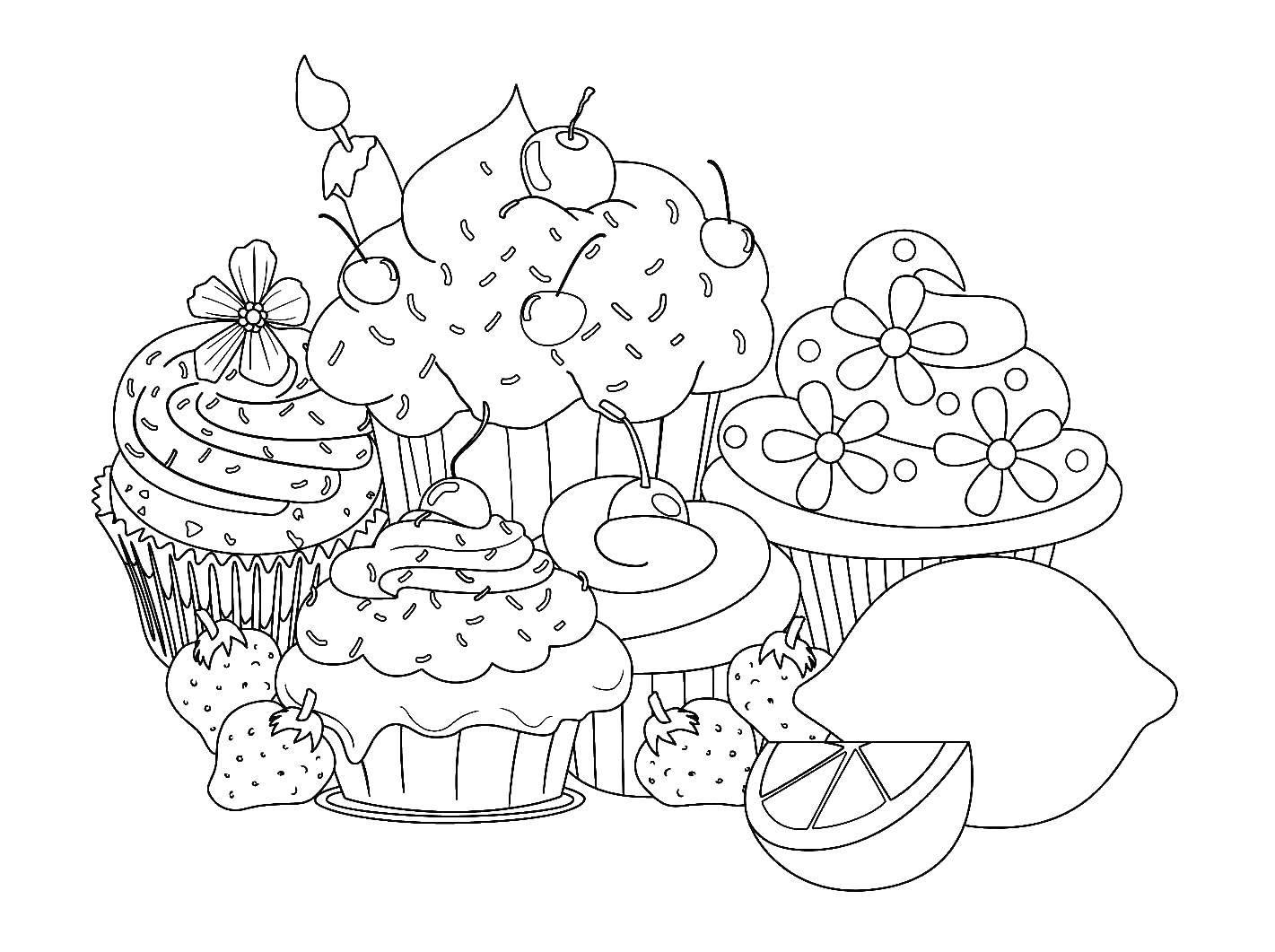 Раскраска Ягоды и кексы Скачать кексы, лимон, клубника, вишня.  Распечатать ,сладости,