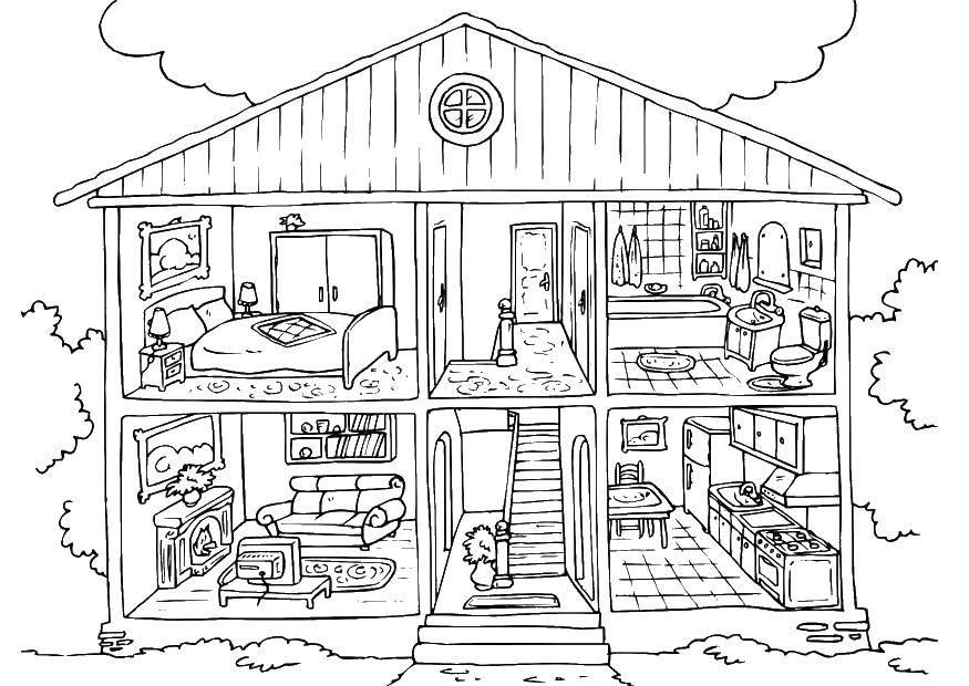 Раскраска дома Скачать ,дом, ванна, комнаты, лестница, кухня,.  Распечатать