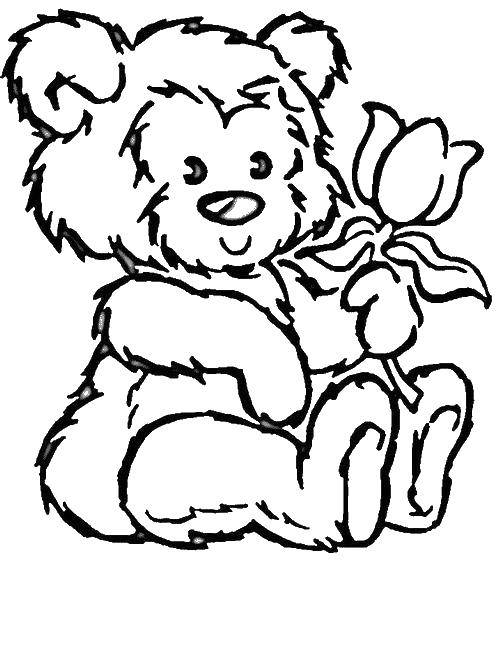 Раскраска мишки с цветами Скачать ,мишка, роза, цветок,.  Распечатать