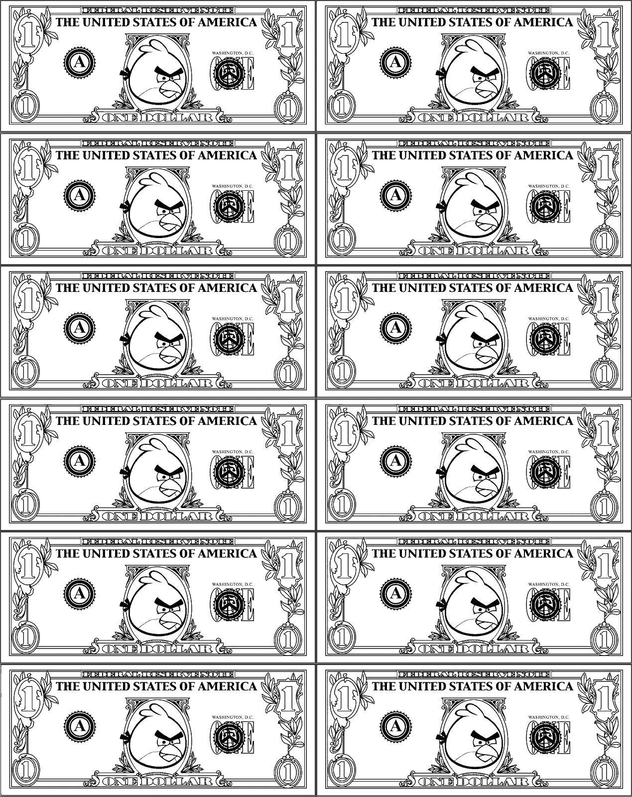 Раскраска Деньги с птицей Скачать Деньги.  Распечатать ,Деньги,