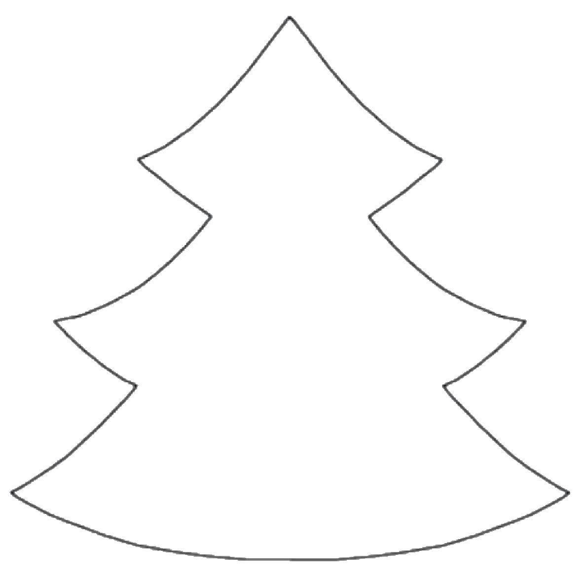 Раскраска Контур елки Скачать контру, елка.  Распечатать ,Контур дерева,
