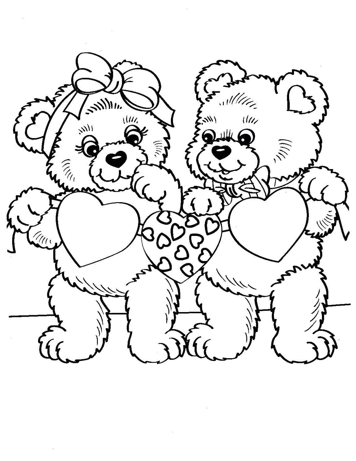 Раскраска Медвежата вырезали сердечки. Скачать День Святого Валентина, любовь, сердце, мишки.  Распечатать ,День святого валентина,
