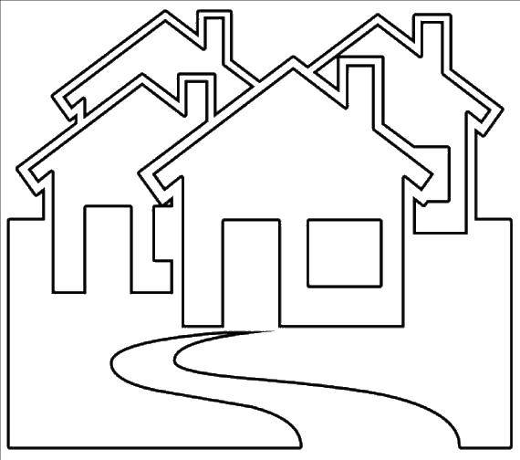 Раскраска Много домиков. Скачать Дом, здание.  Распечатать ,Контур дома,