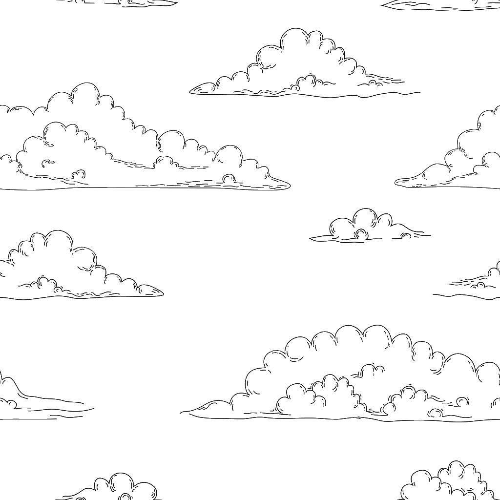 Раскраска Много облаков. Скачать Облако, небо.  Распечатать ,Контур облака,