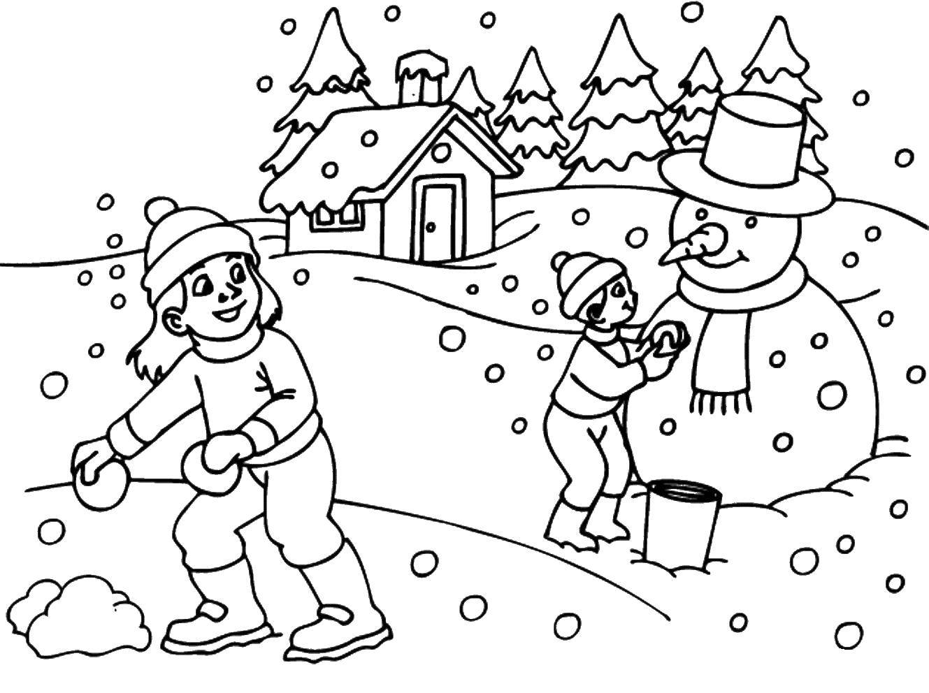 Раскраска Много зимних развлечений. Скачать Зима, дети, снег, веселье.  Распечатать ,раскраски зима,