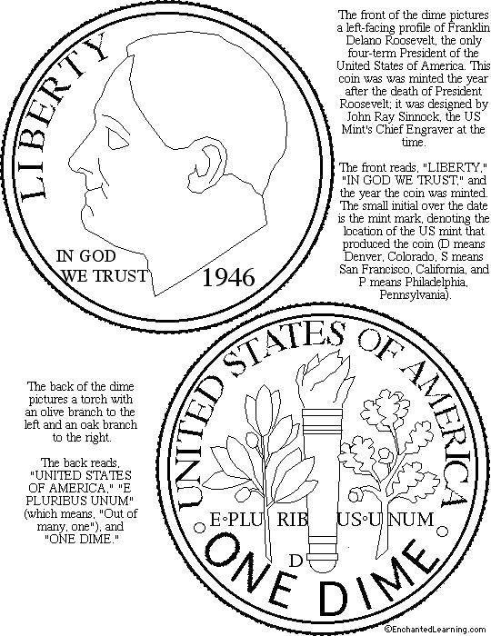 Раскраска Монета 1946 года Скачать Деньги.  Распечатать ,Деньги,