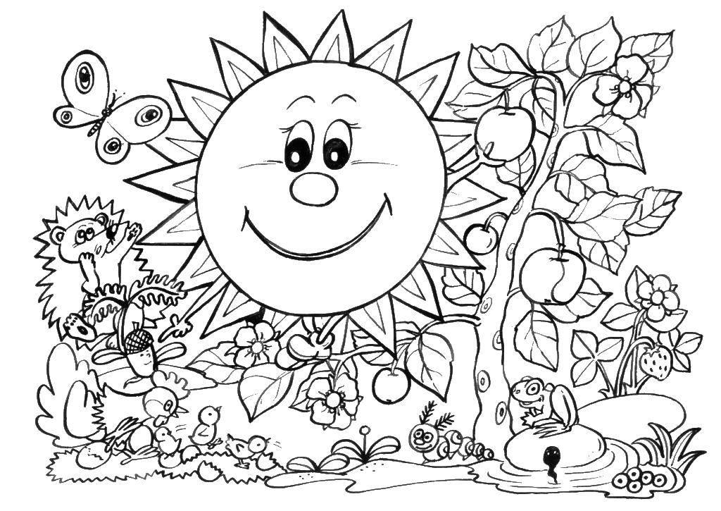 Раскраска Радостное солнце. Скачать Весна, цветы, тепло.  Распечатать ,Весна,