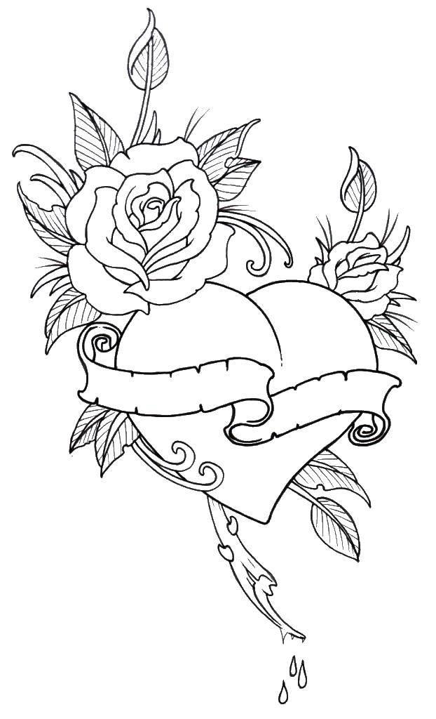 Раскраска Роза у сердца. Скачать Сердечко, любовь, роза.  Распечатать ,Сердечки,