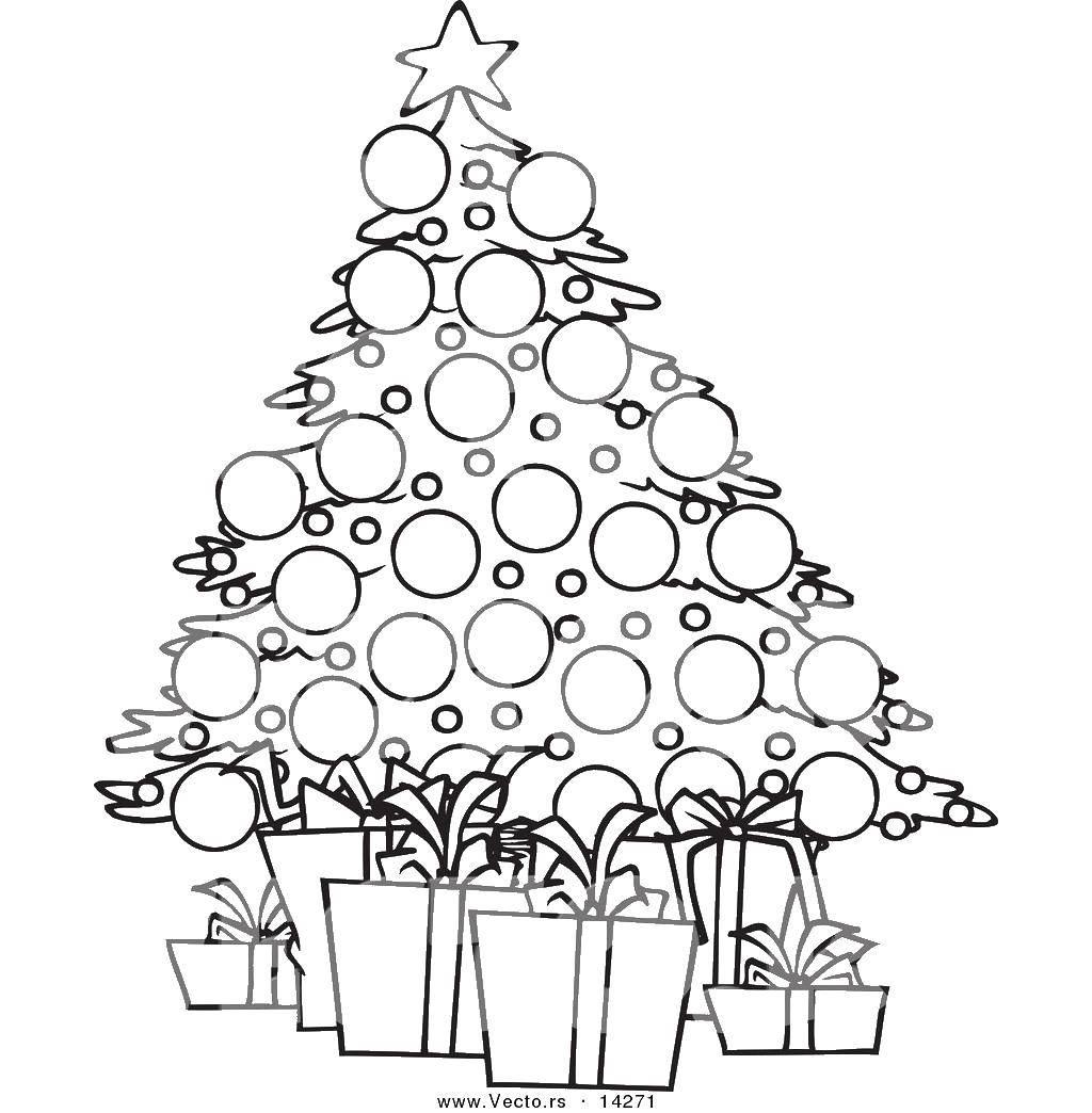 Раскраска Рождественская елка и подарки Скачать елка, подарки, звезда.  Распечатать ,Рождество,