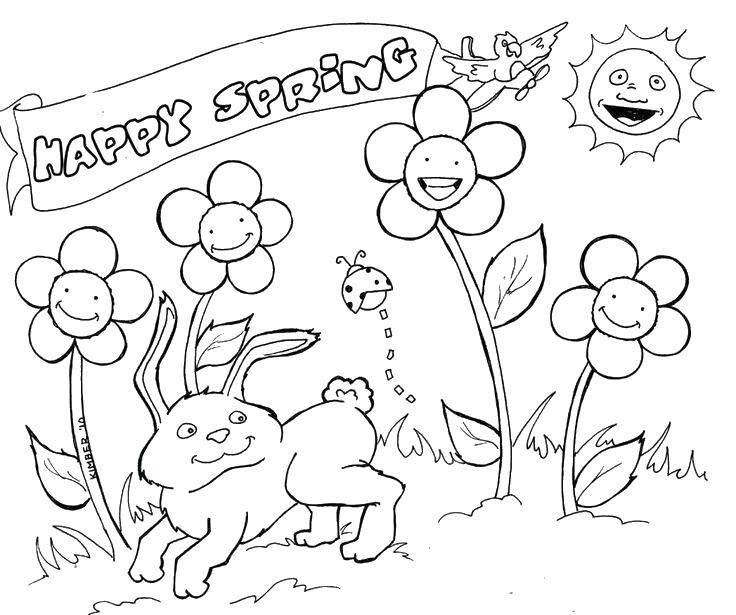 Раскраска Счастливая весна. Скачать Весна, цветы, тепло.  Распечатать ,Весна,