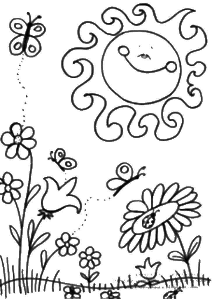 Раскраска Солнышко улыбается цветам. Скачать Весна, цветы, тепло.  Распечатать ,Весна,