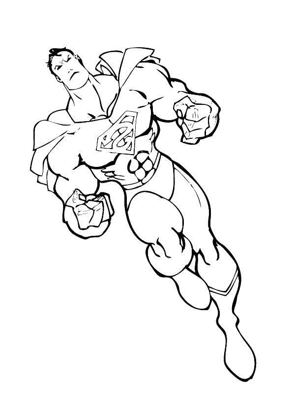 Раскраска Супермен и его мускулы Скачать супермен, мышцы, плащ.  Распечатать ,супергерои,