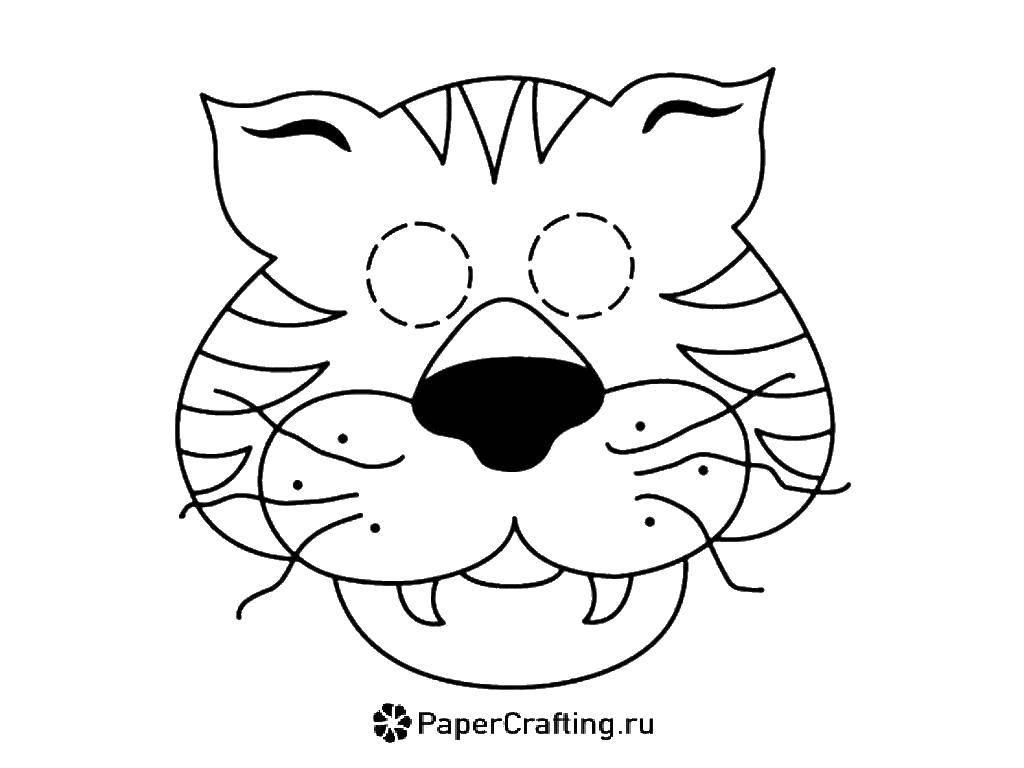Раскраска Тигровая маска Скачать Маскарад, маска.  Распечатать ,Маски,