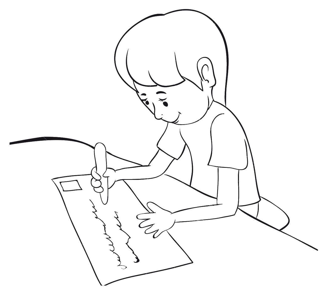 раскраски письмо раскраска девочка и письмо дети