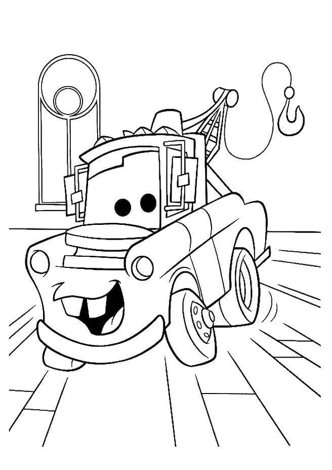 Название: Раскраска Машинка из мультфильма  тачки . Категория: Диснеевские мультфильмы. Теги: Дисней,  Тачки .
