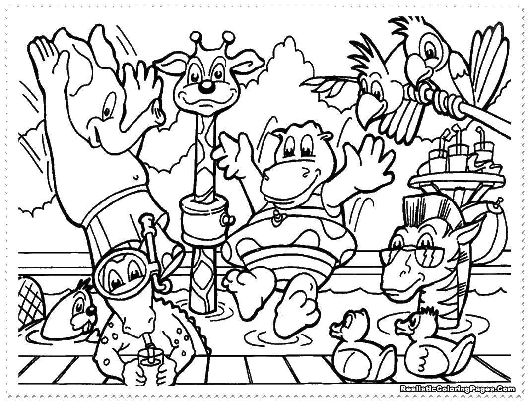 Название: Раскраска Слоненок, бобёр, крокодил, жираф, бегемотик и попугайчики отдыхают летом. Категория: Животные. Теги: Зоопарк, животные.