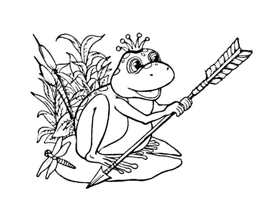 Название: Раскраска Царевна лягушка держит стрелу. Категория: Сказки. Теги: Сказки.