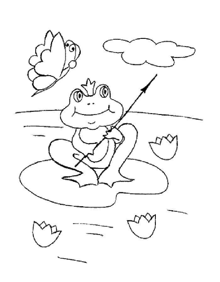 Название: Раскраска Царевна лягушка и бабочка. Категория: раскраски. Теги: лягушка, корона, стрела, бабочка.