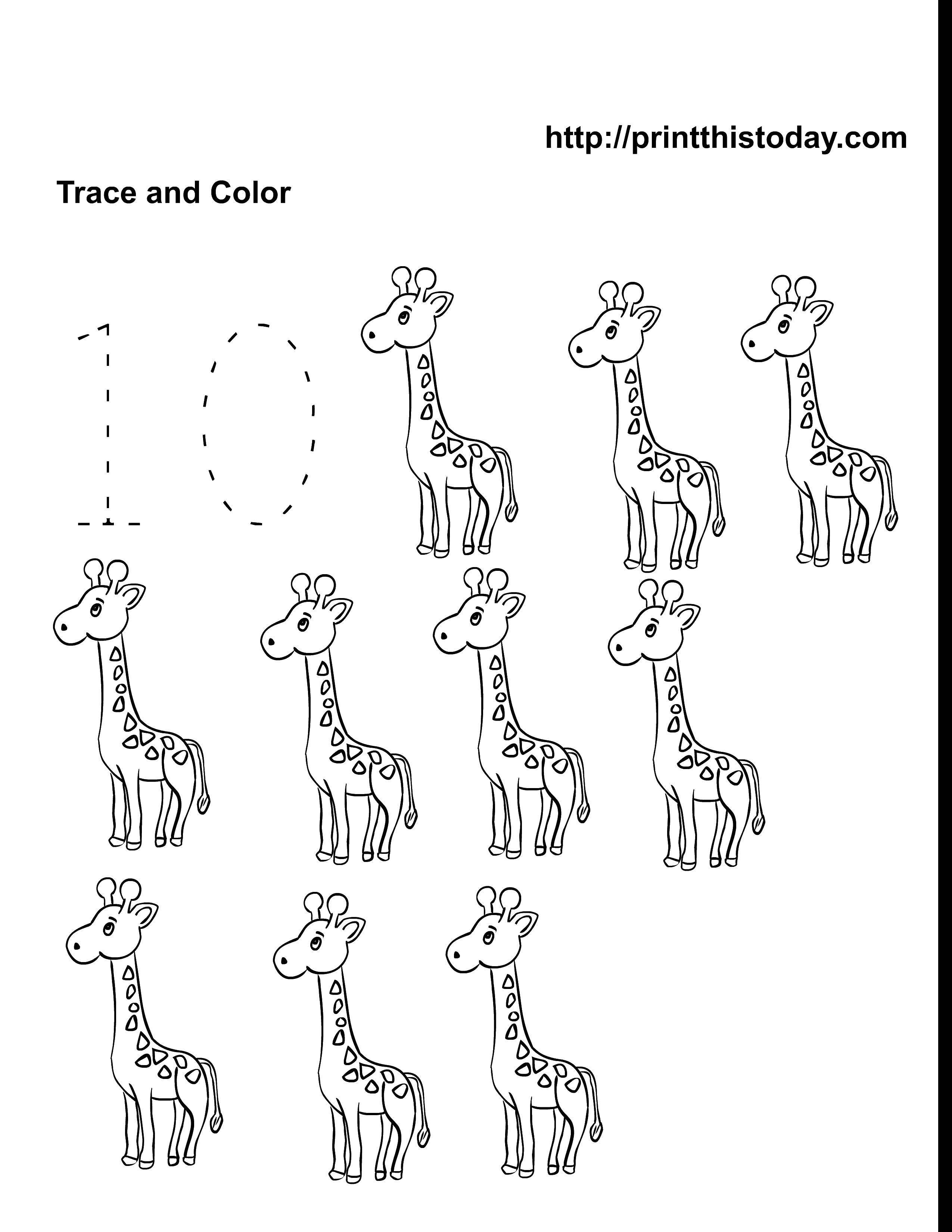 Раскраска 10 жирафов. Скачать Цифры, счёт, числа.  Распечатать ,Учимся считать,