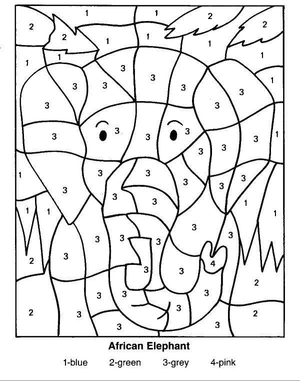 Раскраска Африканский слон Скачать по номерам, по цифрам, слон.  Распечатать ,По номерам,