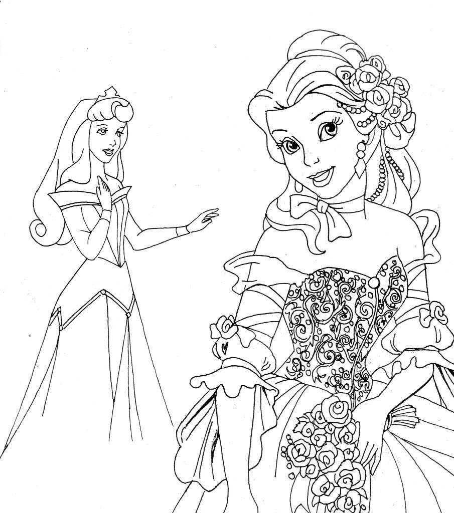 Раскраска Аврора и белль. Скачать Аврора, Белль, принцессы.  Распечатать ,принцесса,