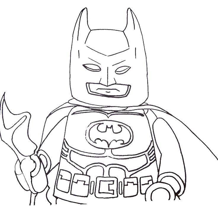 Раскраска Бэтмэн из конструктора лего Скачать Конструктор, Лего, Бэтмэн.  Распечатать ,Для мальчиков,