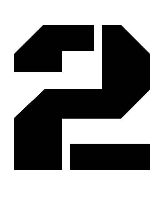 Раскраска Черная цифра 2. Скачать цифра, два.  Распечатать ,Цифры,