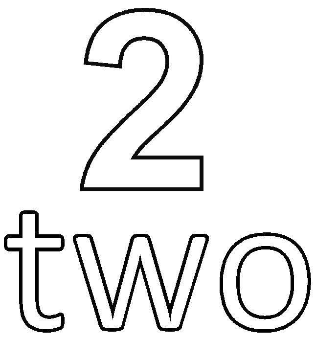 Раскраска Число два на английском Скачать цифра, два.  Распечатать ,Цифры,