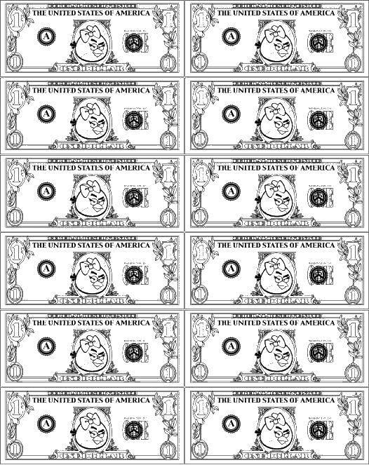Раскраска Деньги с птицей Скачать ,деньги, птица, купюры,.  Распечатать