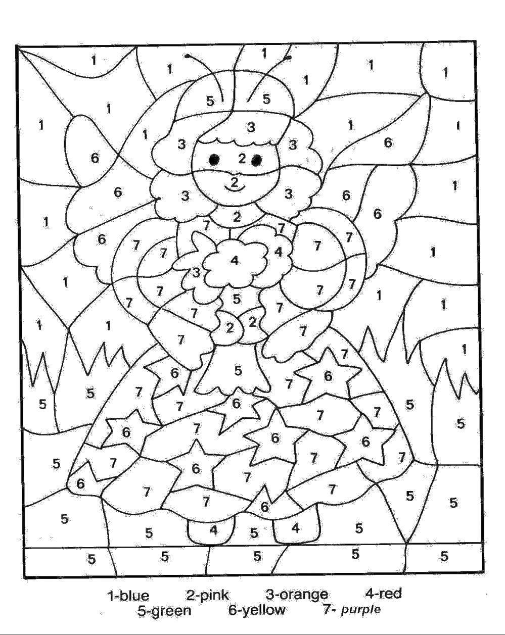 Раскраска Девочка с крыльями и цветы Скачать девочка, крылья, цветы.  Распечатать ,По номерам,