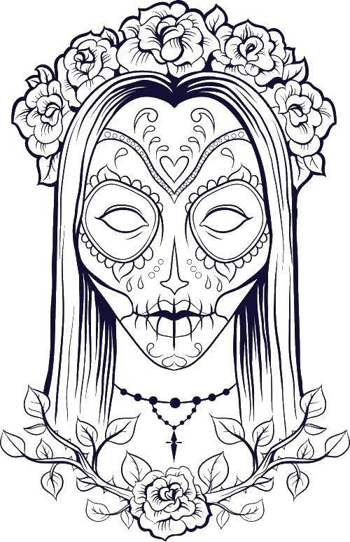 Раскраска Девушка с разукрашенным лицом Скачать девушка, череп, цветы.  Распечатать ,раскраски для подростков,