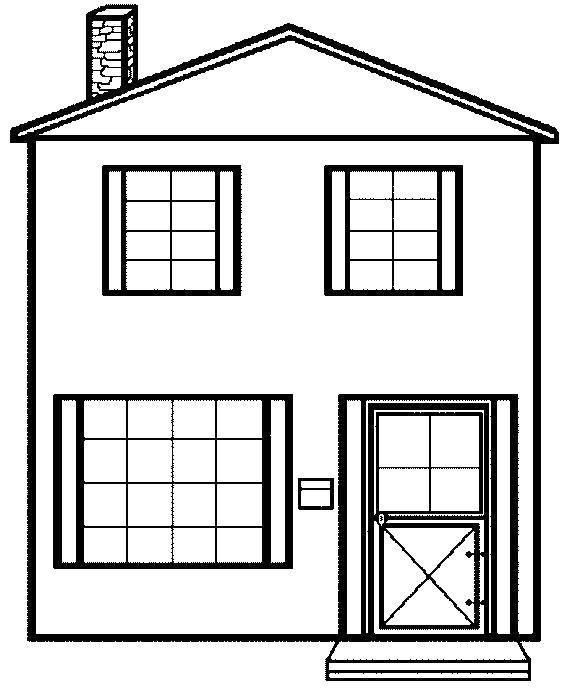 Раскраска Дом с большими окнами. Скачать Дом, здание.  Распечатать ,Раскраски дом,