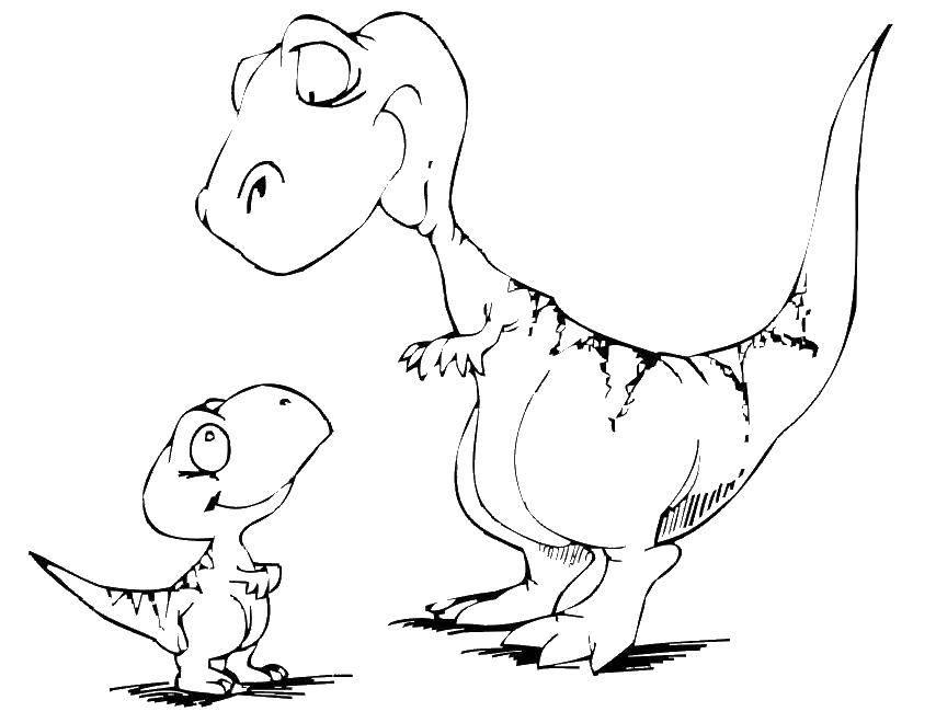 Название: Раскраска Два динозавра. Категория: динозавр. Теги: динозавры, динозавр, парк юрского периода.