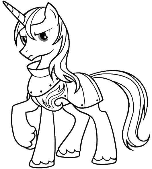 Раскраска Единорог в доспехах Скачать единорог, хвост, доспехи.  Распечатать ,мой маленький пони,