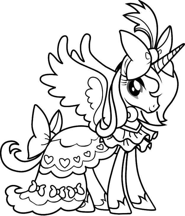 Раскраска Единорог в платье Скачать единорог, платье, бантик.  Распечатать ,мой маленький пони,