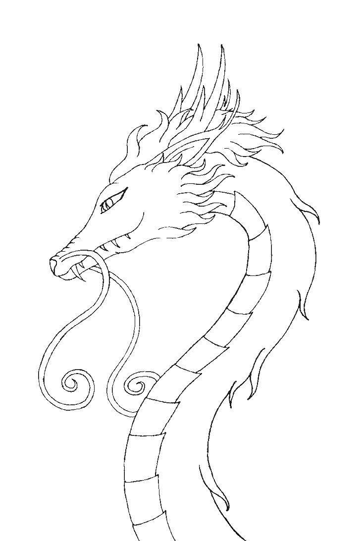 Раскраска Голова китайского дракона Скачать дракон, усы, голова.  Распечатать ,Драконы,