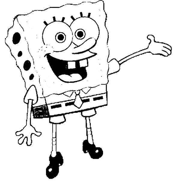 Раскраска Губка боб квадратные штаны любит улыбаться Скачать Персонаж из мультфильма.  Распечатать ,мультфильмы,