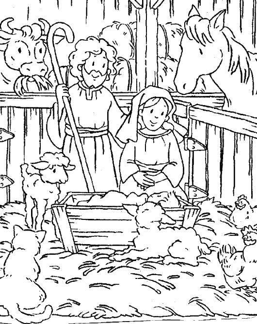 Раскраска Хлев в рождество Скачать Рождество, Ангел.  Распечатать ,Рождество,