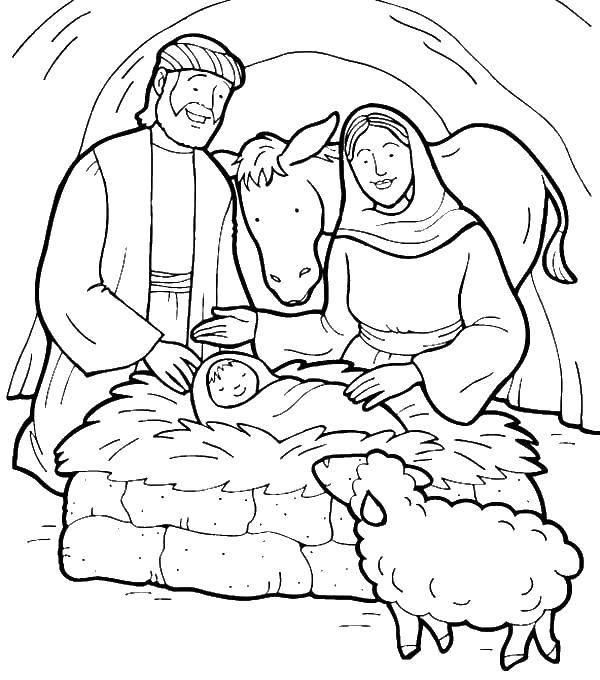 Раскраска Хлев Скачать Рождество, Ангел.  Распечатать ,Рождество,