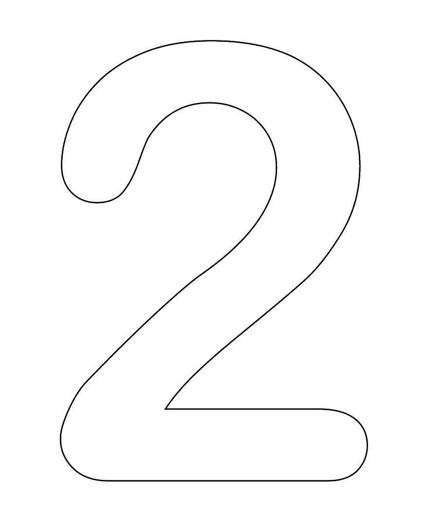 Раскраска Контур числа два Скачать контур, цифры, два.  Распечатать ,Цифры,