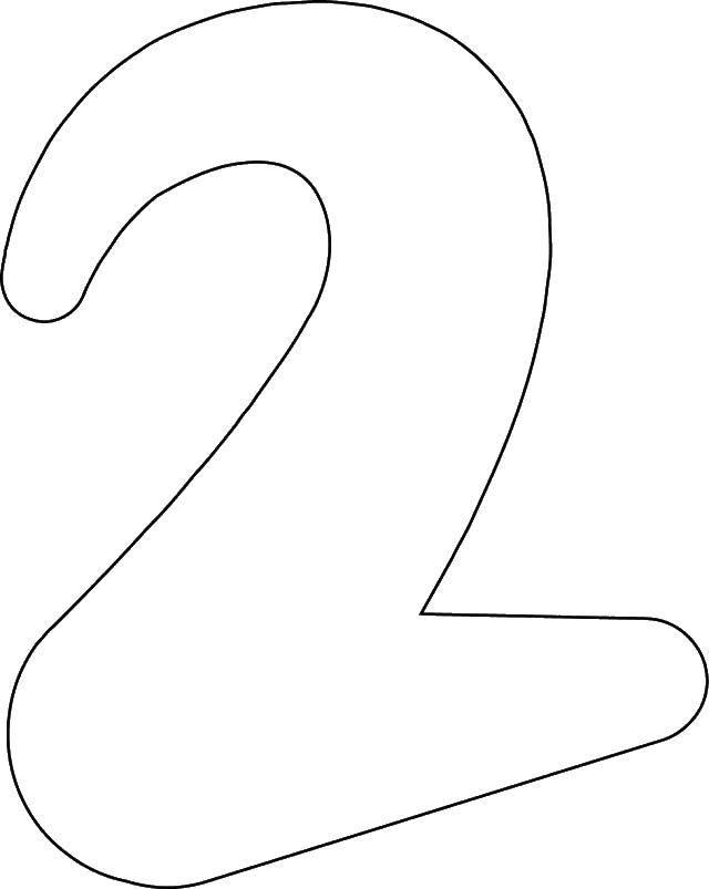 Раскраска Контур двойки. Скачать цифра, два.  Распечатать ,Цифры,